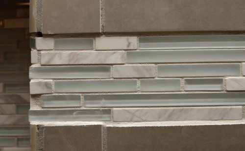 crooked uneven linear glass mosaic accent tile