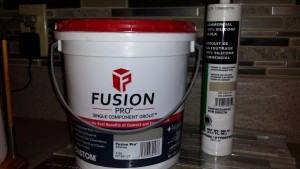 Container of Fusion grout with silicone