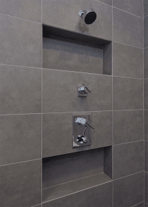recessed shampoo niches in an exterior wall