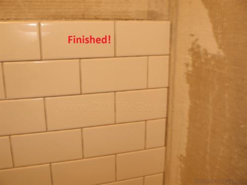 Finished white ceramic subway tile