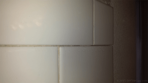 half cut subway tile installed