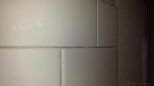 half cut subway tile installed