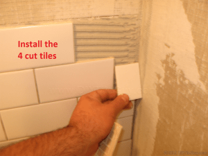 Install subway tile cuts