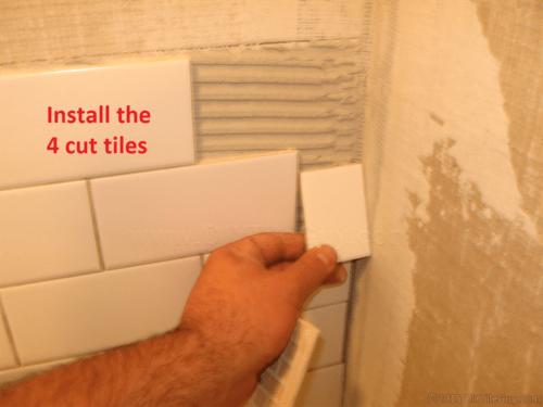 Install subway tile cuts