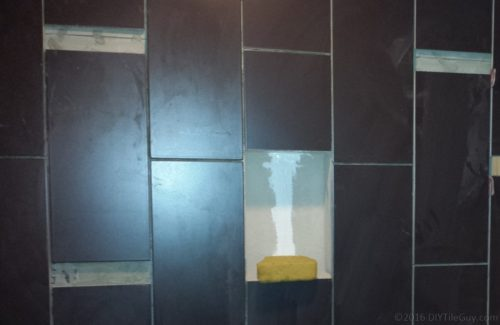 tile shower with foam niche