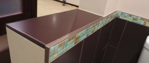 alternatives to bullnose tile trim. Schluter metal profiles, glass tile, marble tile pencil edging, mitering corners for tile