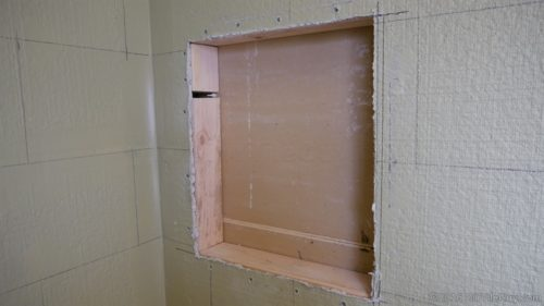 Cutting The Wall Board To Fit The Niche