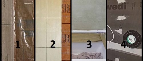 four different Shower waterproofing systems for tile showers. Which waterproofing system is best? Redgard, Wedi, Kerdi, vapor barrier, hydroban, goboard