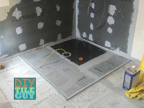 shower pan leak test on a curbless wedi ligno shower system