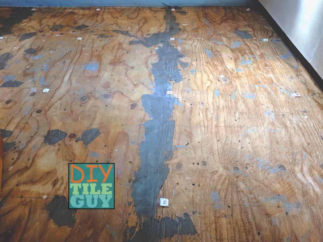 plywood substrate before self-leveling underlayment
