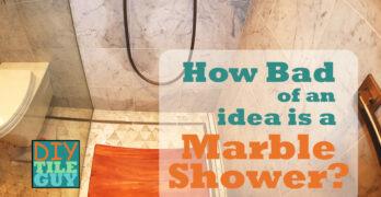 wet spot on carrara marble shower wall