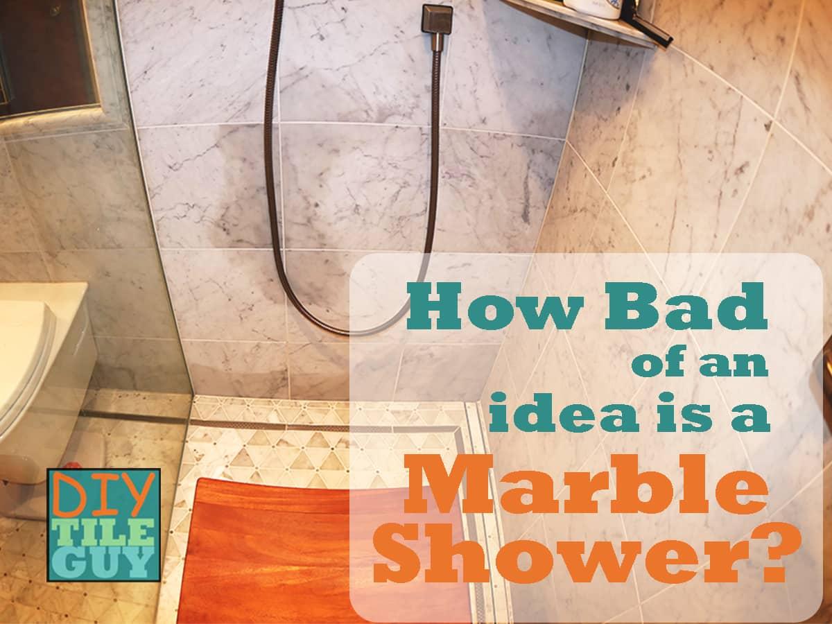 dark wet spot on carrara marble shower