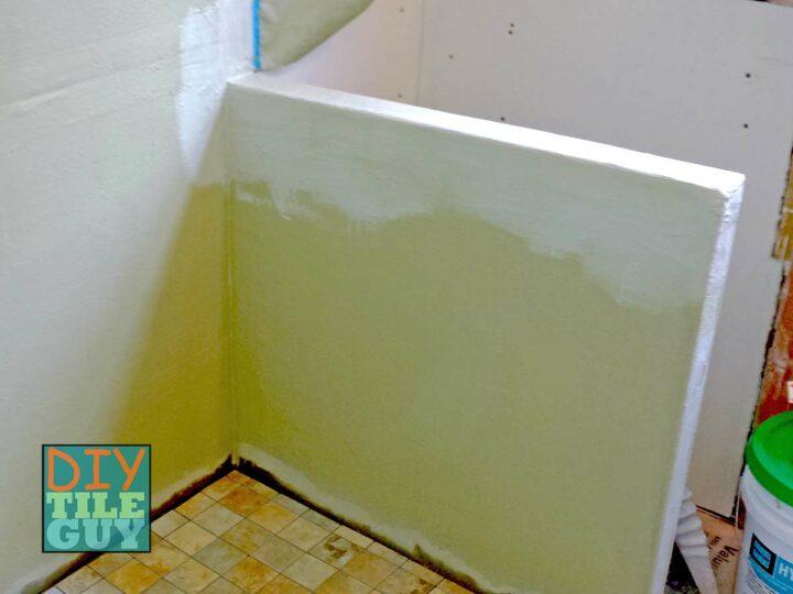 Hydroban waterproofing on a shower half wall